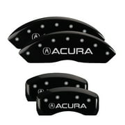 MGP 4 Caliper Covers Engraved Front & Rear Acura Black finish silver ch