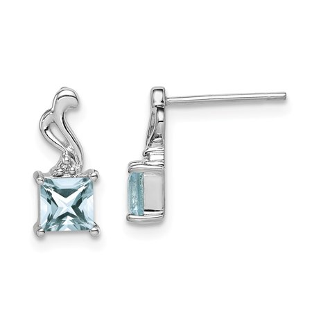 Roy Rose Jewelry Sterling Silver Diamond Aquamarine Square Post Earrings
