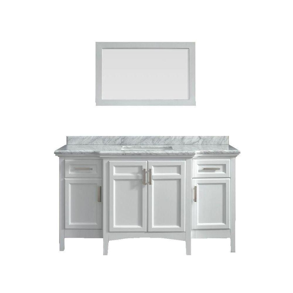 awesome 60 Inch White Vanity Top Part - 7: Sassy 60 in. Vanity in White with Marble Vanity Top in Carrara White -  Walmart.com