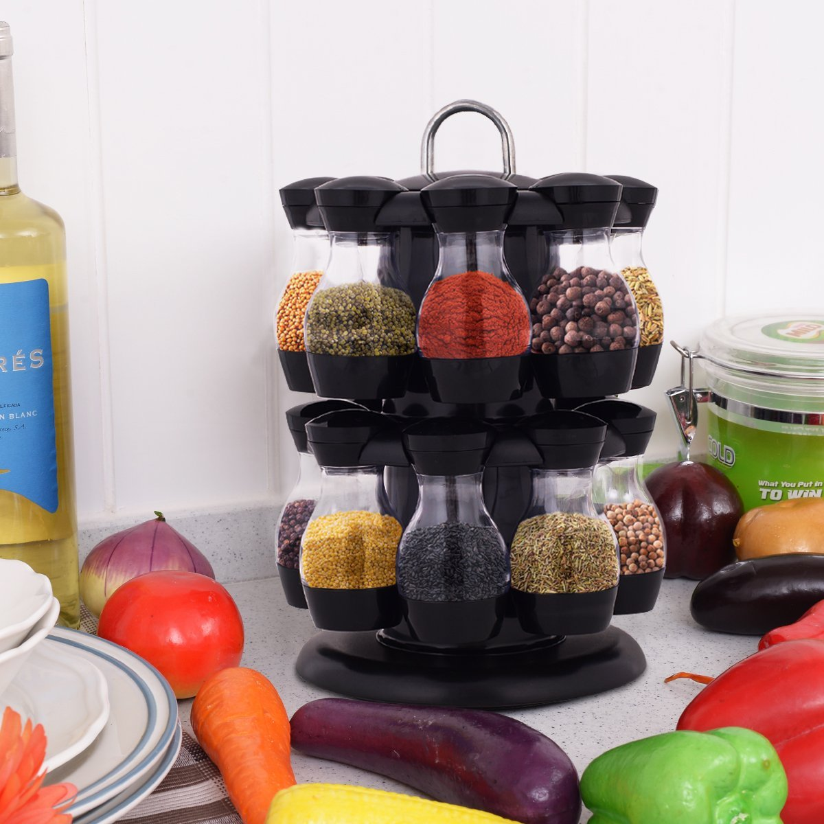 16 Jar Rotating Spice Rack Carousel Kitchen Storage Holder Condiments Container Transparent( body of jar) + Black - image 2 of 8
