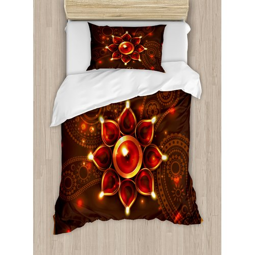 Ambesonne Diwali Paisley Design Backdrop with Beams and Wishes Candles Indian Print Duvet Cover Set