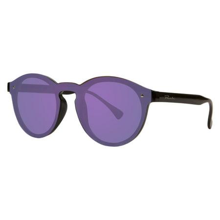 "Piranha ""Sierra"" Womens Retro Shiny Black Frame Sunglasses with Ice Blue Mirror Lens"