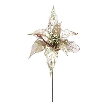 "Vickerman 32"" Champagne Glitter Velvet Sheer Poinsettia Decorative Christmas Pick Featuring 1 Glitter Accented 11"" Flower Head. - image 1 de 1"