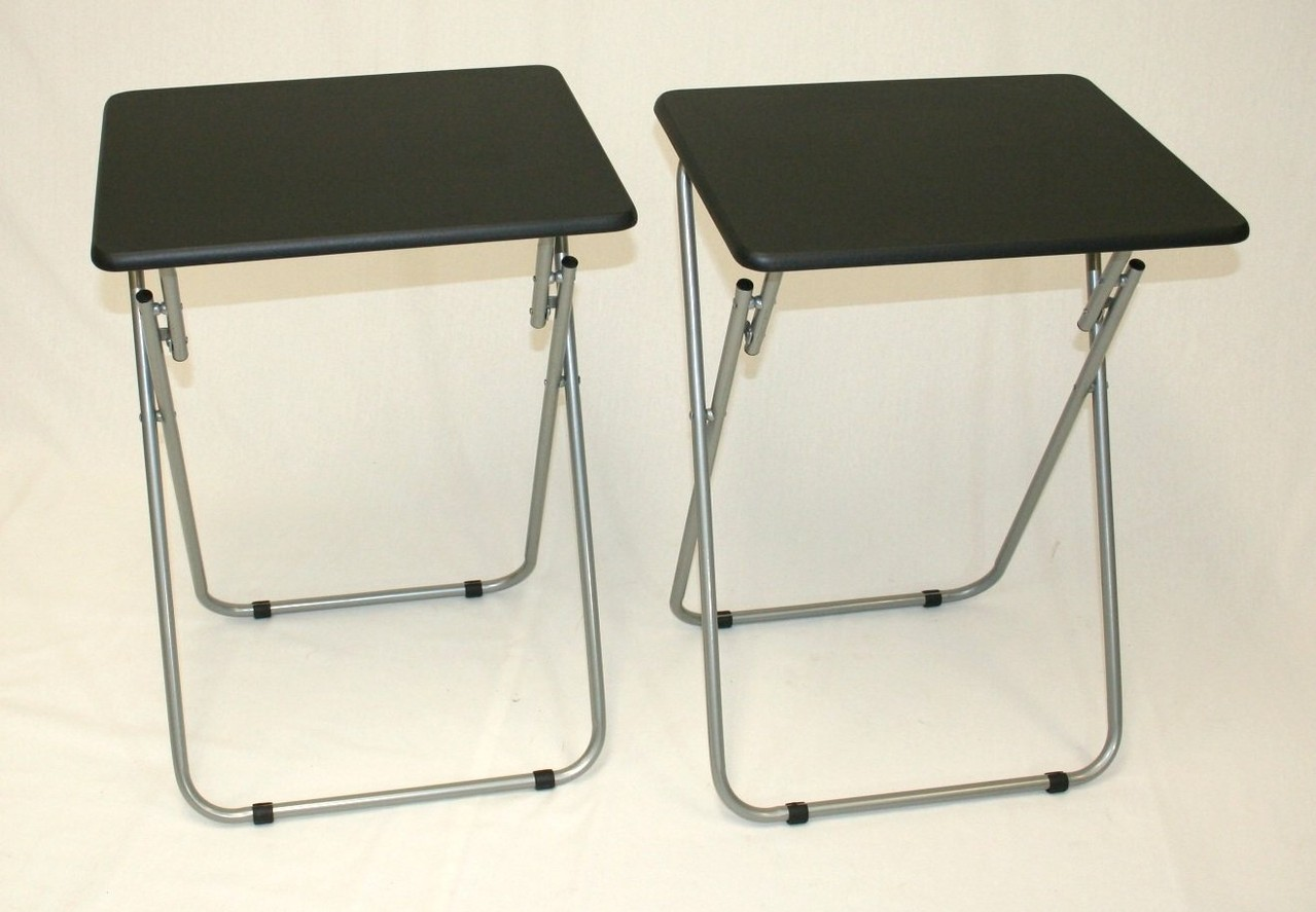 Folding TV and Snack Tray Table Black-set of 2 by