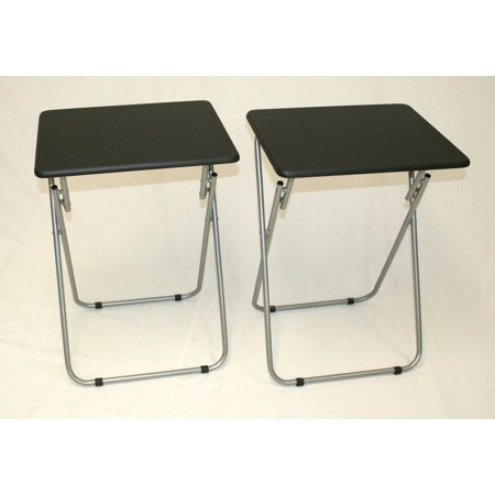 Folding TV and Snack Tray Table Black-set of 2 - Black And White Snacks