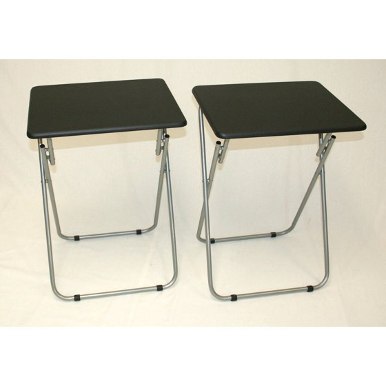 folding tv and snack tray table black set of 2. Black Bedroom Furniture Sets. Home Design Ideas