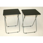 Folding Tv And Snack Tray Table Black Set Of 2