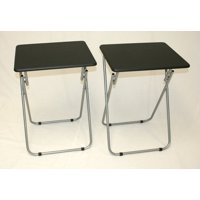 Product Image Folding Tv And Snack Tray Table Black Set Of 2