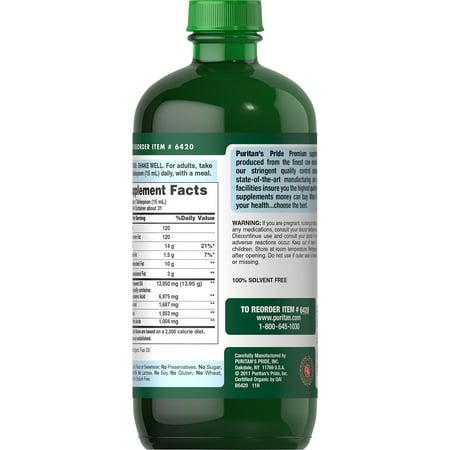 Puritan's Pride Organic Liquid Flaxseed Oil - 16 fl oz, Omega 3-6-9