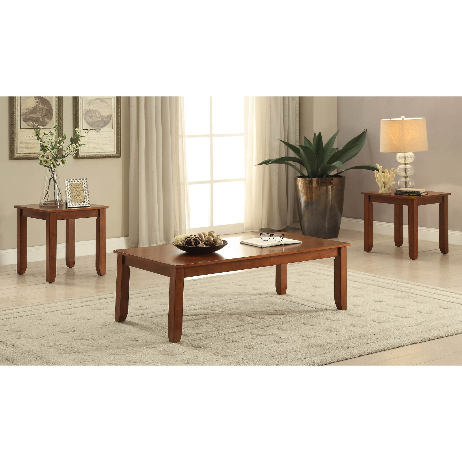 ACME Maine 3 Piece Pack Coffee End Table Set Cherry  sc 1 st  Walmart.com & ACME Maine 3 Piece Pack Coffee End Table Set Cherry - Walmart.com