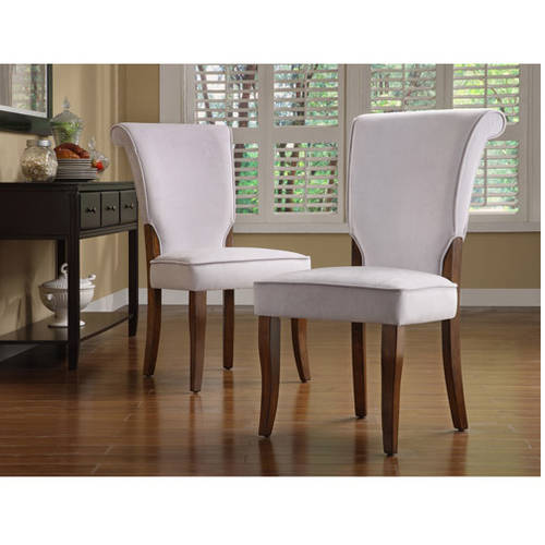 Homelegance Gray Velvet Parsons Side Dining Chair, Set of 2, Cherry Finish