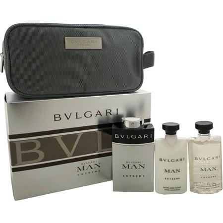 b3931e800e Bulgari - Bvlgari Man Extreme by Bvlgari for Men - 4 Pc Gift Set 3.4oz EDT  Spray, 2.5oz After Shave Balm, 2.5oz Shampoo & Shower Gel, Pouch -  Walmart.com