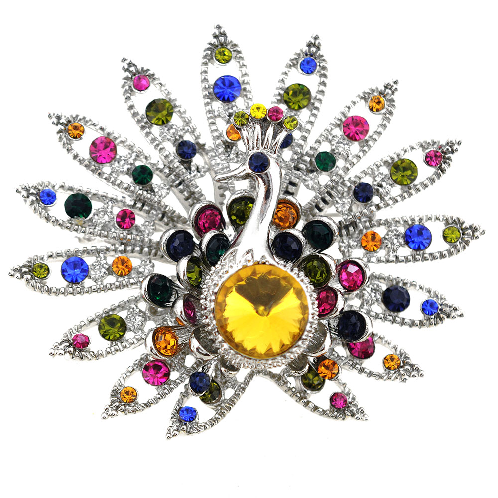 Multicolor Yellow Gem Peacock Pin Brooch by