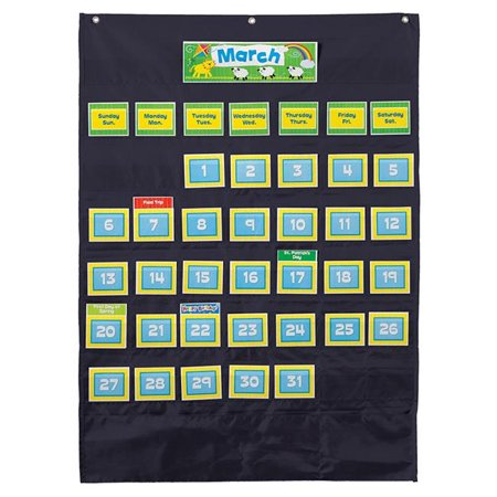 Carson Dellosa CD-158574 Deluxe Calendar Pocket Chart, Black](Black Pocket Chart)