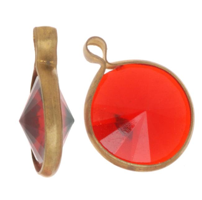 Vintage Lucite Antiqued Gold Toned Rivoli Pendants Ruby 16mm (8)