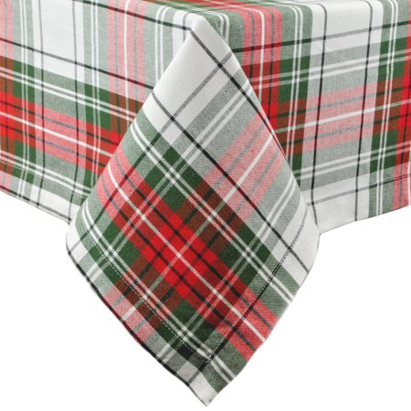 Design Imports Classic Rectangle Christmas Plaid Kitchen Tablecloth, 84