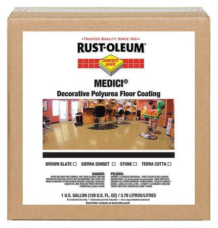 RUST-OLEUM 280939 Floor Coating,Water,1 gal.,Brown Slate