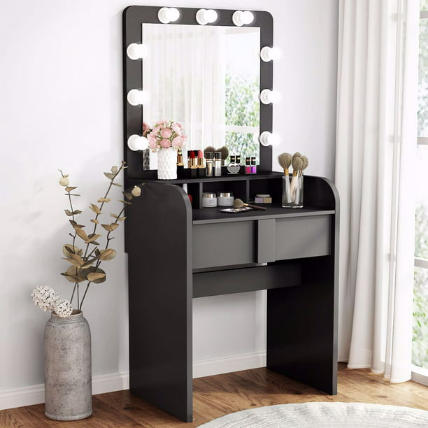 Tribesigns Vanity Table Set with Lighted Mirror, Makeup ...