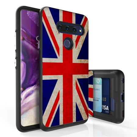 LG V40 ThinQ Case, PimpCase Slim Wallet Case + Dual Layer Card Holder For LG V40 ThinQ (Released 2018) Union Jack British Flag](Flag Holder Case)