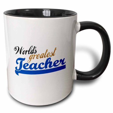 3dRose Worlds Greatest Teacher blue and gold text - unisex or for males - School Teacher appreciation gifts - Two Tone Black Mug, 11-ounce](Halloween Gifts For Daycare Teachers)