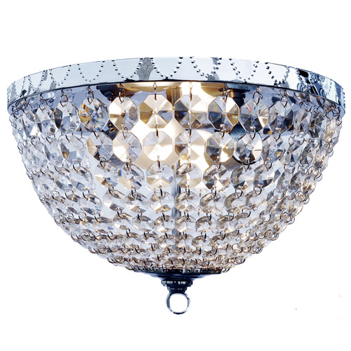 Elegant Designs 2-Light Genuine Crystal Rain Drop Ceiling Light Flushmount