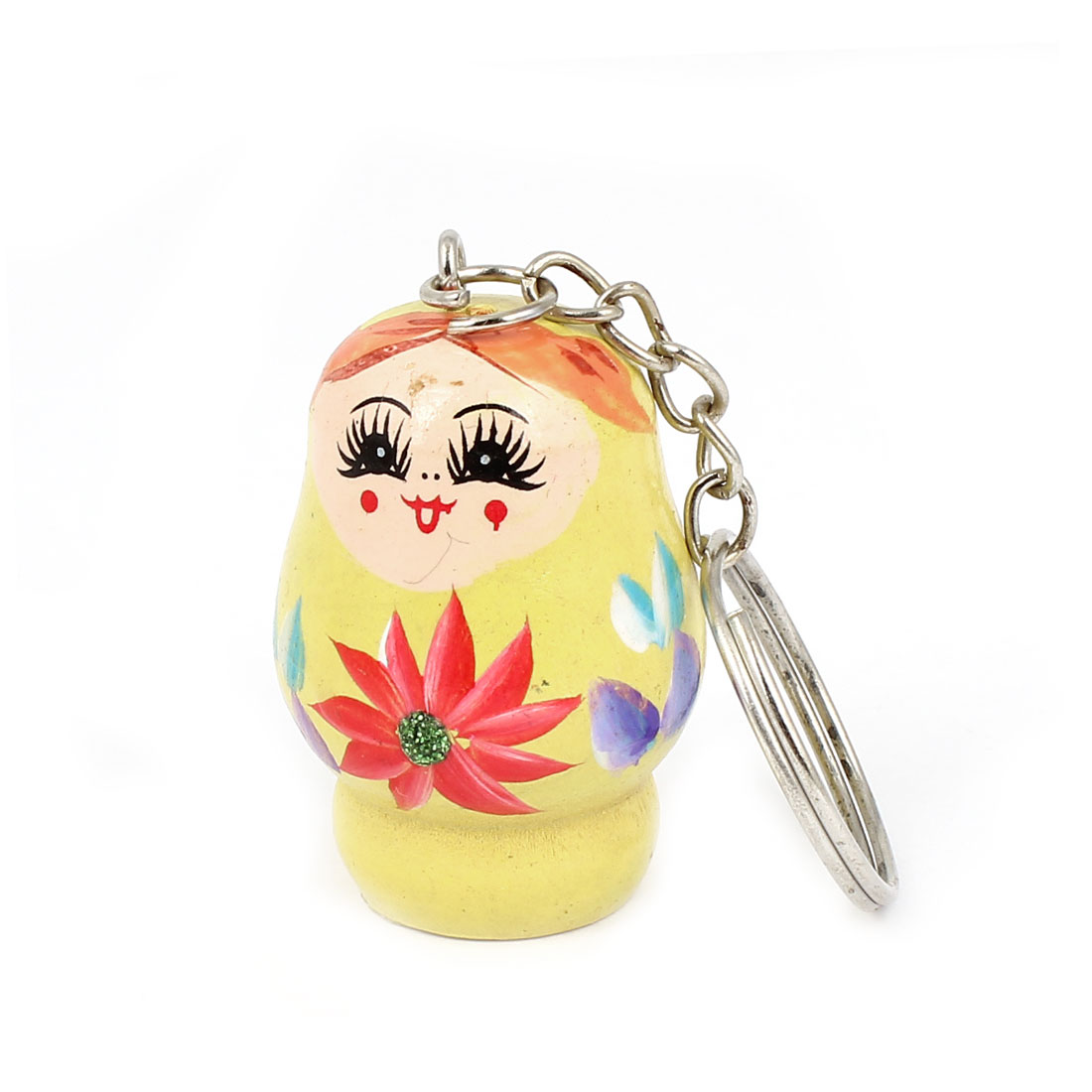Unique Bargains Russian Nesting Doll Painted Wooden Hanging Pendant Keyring Yellow