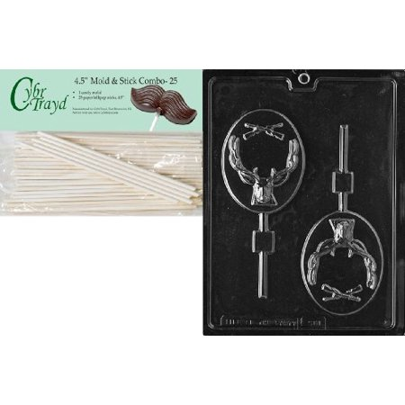 Cybrtrayd 45St25-S081 Deer Hunter Lolly Sports Chocolate Candy Mold with 25-Pack 4.5-Inch Lollipop Sticks for $<!---->
