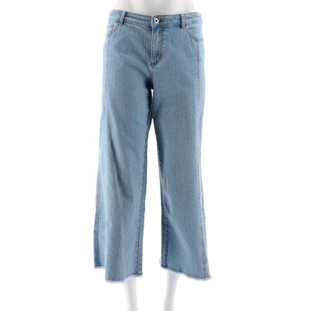 7dd33b97 Du Jour - Du Jour Denim Culotte Pants Fringe Bottom Hem A307523 -  Walmart.com