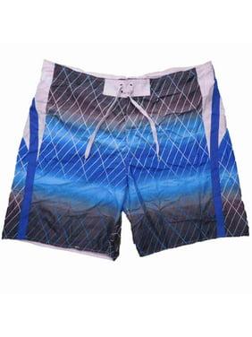 Mens Gray/Blue/White Board Shorts Swim Trunks 2XL