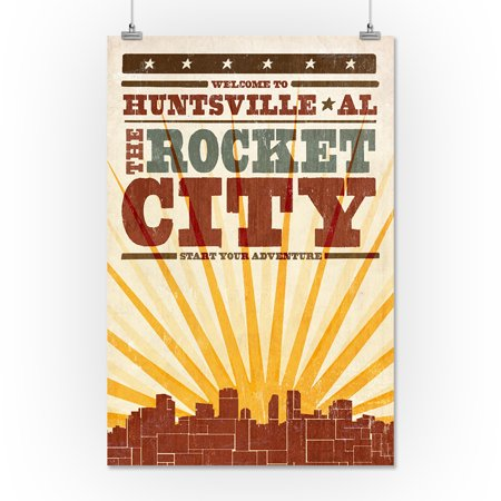 Huntsville Alabama Skyline Sunburst Screenprint Style Lantern Press Artwork 16x24 Giclee