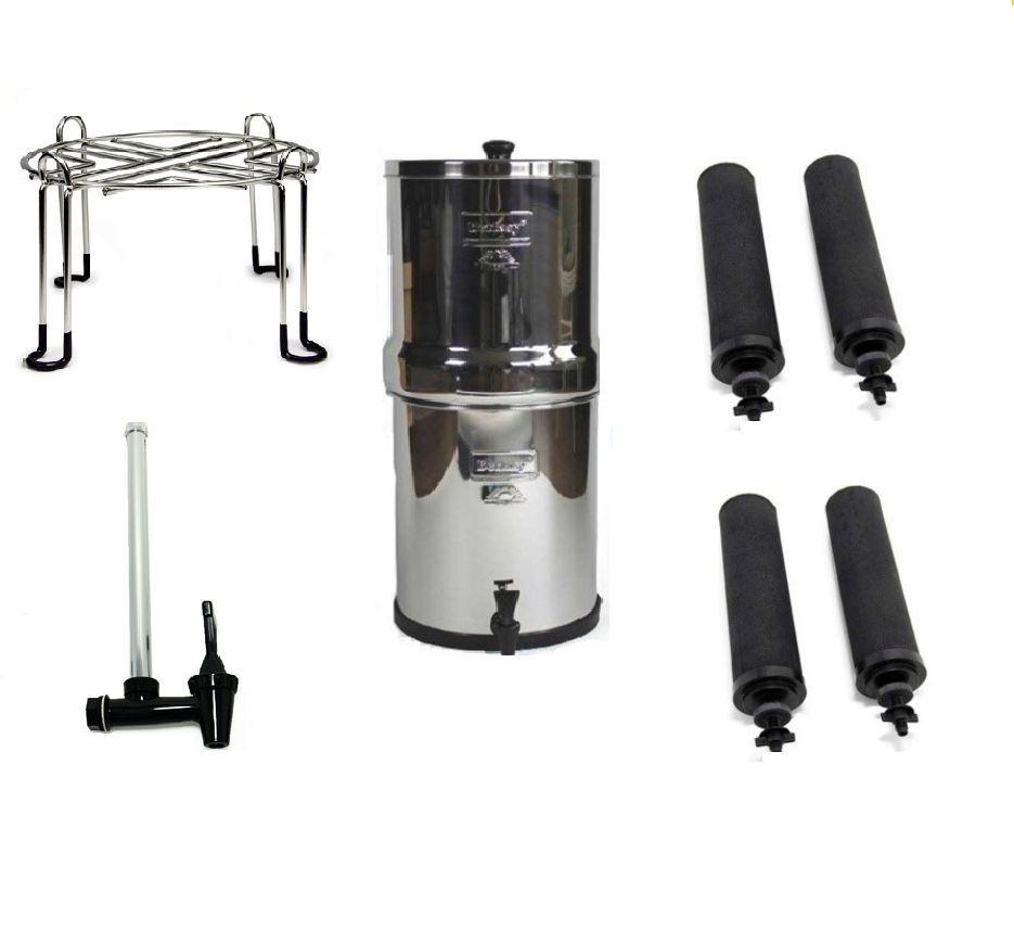 Royal Berkey Water Purifier with 4 Black, Spigot &Wirestand Accessory