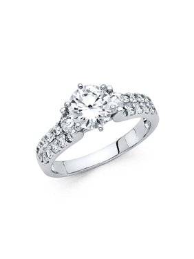 14K Solid White Gold Brilliant Round Cut 1.25 cttw Cubic Zirconia Engagement Ring, Size 4.5