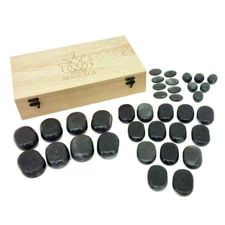 36pc Massage Basalt Stone Set w/Wooden Case