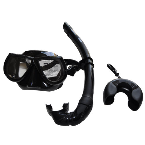 Black Free Dive Low Volume Silicone Mask & Nautilus Snorkel Set by Scuba-Choice
