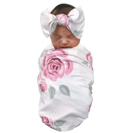 Wonder Nation Baby Girl Swaddle Wrap and Bow Headband Baby Shower Gift Set, 2pc