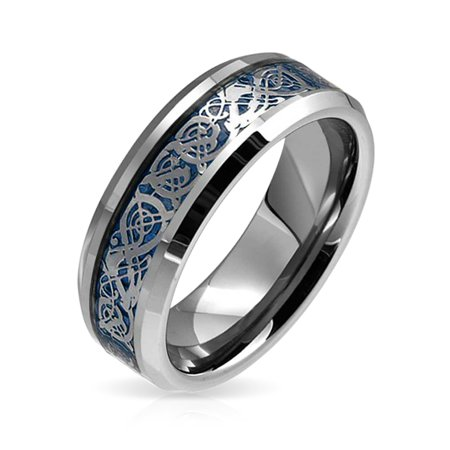 Blue Silver Tone Celtic Knot Dragon Inlay Couples Wedding Band Tungsten Rings For Men For Women Comfort Fit -