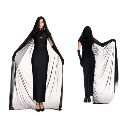 Women's Deluxe Black Gothic Witch Long Dress Costume 4 Piece set (XL)