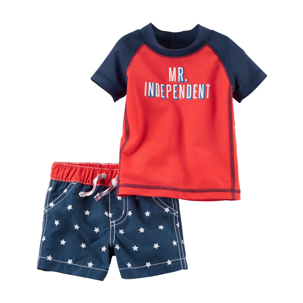 6d3c6c4df Carter's - Carters Baby Clothing Outfit Boys Mr Independent Fourth of July  Rashguard Set Blue - Walmart.com