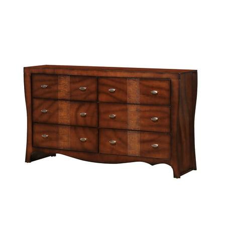 Home Source Jenny Dark Walnut 6 Drawer Dresser with Double Chrome Knobs Bedroom Chrome Dresser
