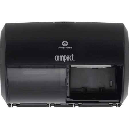 - Compact, GPC56784A, 2-Roll Side-by-Side Coreless High-Capacity Toilet Paper Dispenser, 1 Each, Black