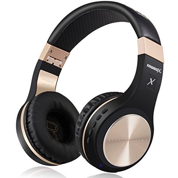 Bluetooth Headphones Riwbox Xbt 80 Folding Stereo Wireless Bluetooth Headphones Over Ear With Microphone And Volume Control Wireless And Wired Headset For Pc Cell Phones Tv Ipad Black Gold Walmart Com Walmart Com