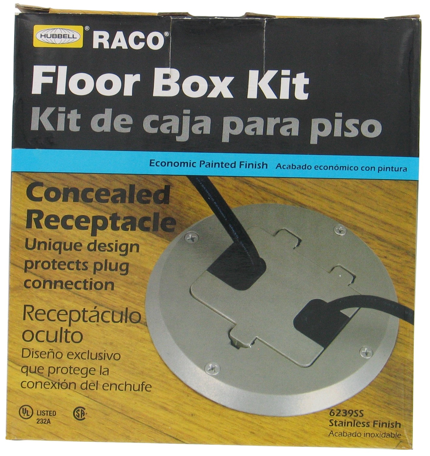 Carlon 6239SS Brass Plated Concealed Receptacle Floor Box Kit (3 Piece)