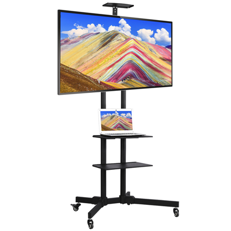 Height-adjustable Mobile TV Stand with Lockable Wheels & Storage Shelves for 32-65 inch LCD/LED Flat Screen ()