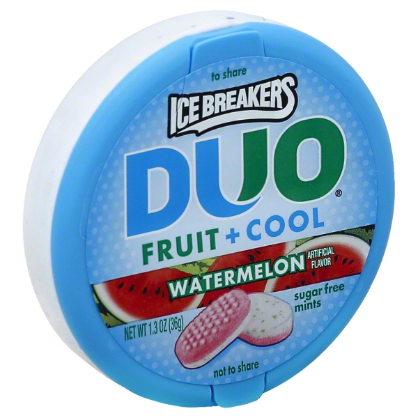 Ice Breakers Duo Fruit + Cool Watermelon Sugar Free Mints, 1.3 oz