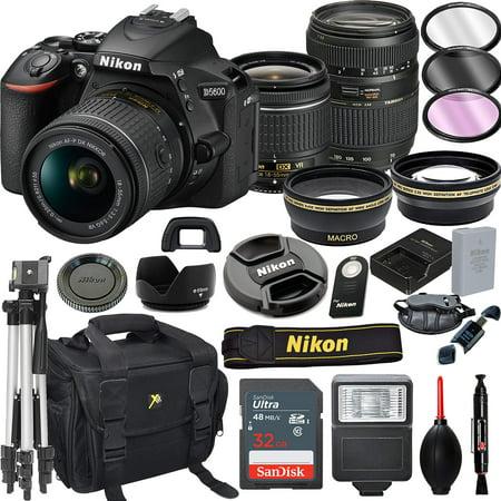 Nikon D5600 DSLR Camera with 18-55mm VR + Tamron 70-300mm + 32GB Card, Tripod, Flash, and More (21pc Bundle)