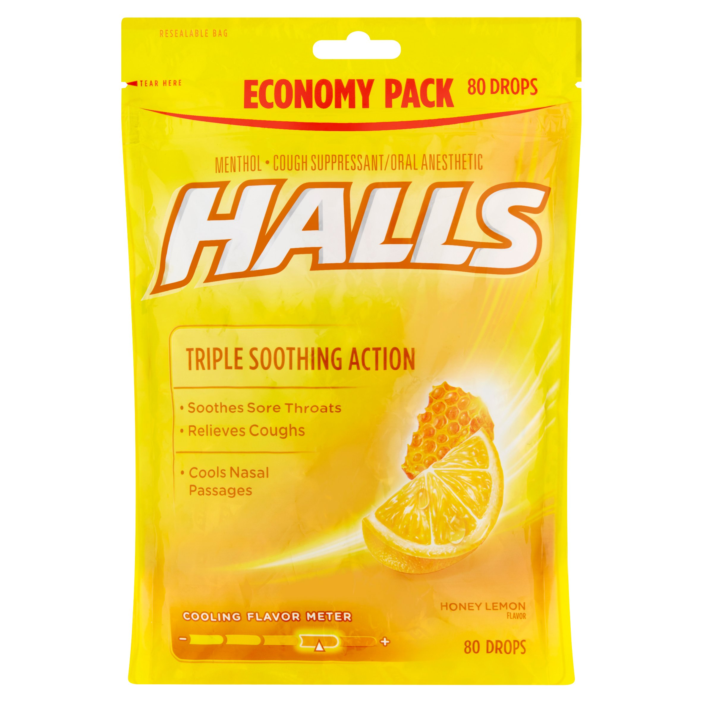 Halls Triple Soothing Action Cough Drops, Honey Lemon, 80 Ct
