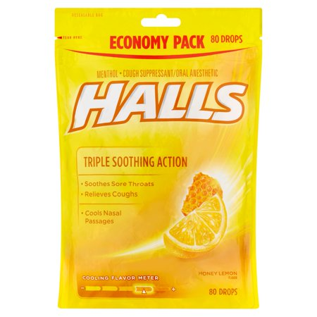 Halls Triple Soothing Action Cough Drops, Honey Lemon, 80 (Coughing Up Clear Phlegm All The Time)