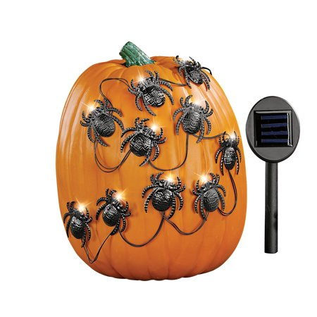Solar Halloween Spiders Pumpkin Poke-Ins, Outdoor Light Up Decorations