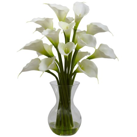 Nearly Natural Calla Lily - Nearly Natural Galla Calla Lily with Vase Arrangement, Cream