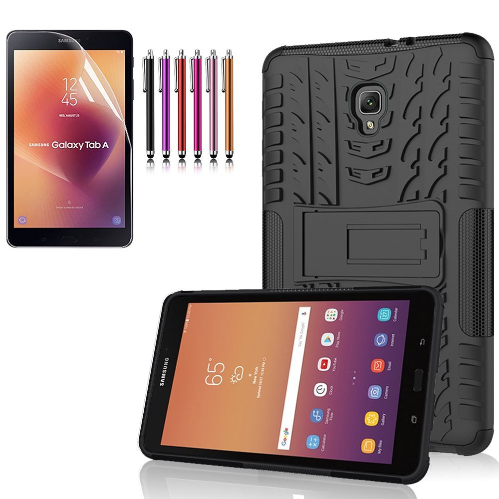 "Mignova Samsung Galaxy Tab A 8.0 ""/ 8"" (Sm-t380 / t385) Heavy Armored Rugged Mixed Case Case ( 2017 Release) + Screen Protector Film and Stylus Pen (Black)"